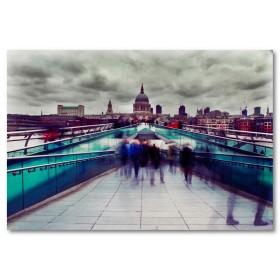 Αφίσα (αρχιτεκτονική, άνθρωποι, γέφυρα, Λονδίνο)
